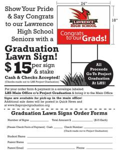 lhs project graduation 2019 lawn sign order form